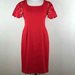 DONNA MORGAN Red Dress with Organza Sleeves Size10